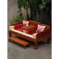中式明清仿古家具新款罗汉床三件套实木雕花虎爪罗汉床榻 1.2米以下