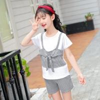 女童夏季假三件套短袖T恤打底衫短裤短袖中大童韩版休闲两件套装