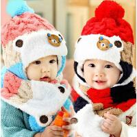 儿童帽子围巾两件套 秋冬季护耳加绒毛线帽潮 婴儿帽子男女宝宝帽子