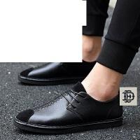 男士休闲鞋英伦风商务皮鞋男鞋子青年复古潮鞋 春季新款低帮豆豆鞋