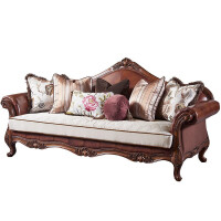 美式乡村实木沙发组合欧式客厅真皮沙发家具布艺沙发