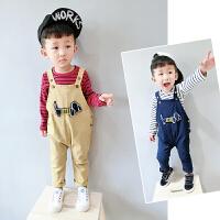 宝宝秋装男1一3岁潮套装幼儿秋装婴秋季衣服两件套婴童背带裤套装