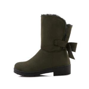 O'SHELL法国欧希尔新品冬季151-813韩版磨砂绒面平跟女士雪地靴