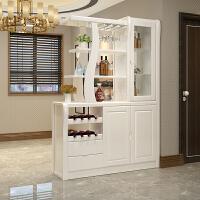 简约现代实木间厅柜客厅双面隔断柜酒柜中式进门玄关柜入户经济型 组装 框架结构
