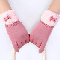 韩版可爱加绒加厚手套秋骑车女防寒手套女士触摸屏保暖手套