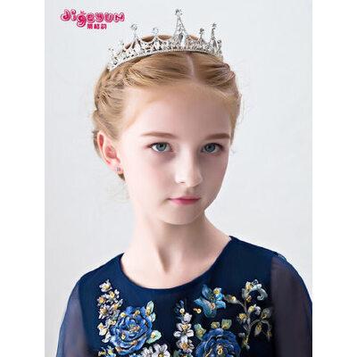 儿童皇冠发饰宝宝饰品公主发夹发箍女孩头箍演出饰品女童头饰王冠 女童水钻皇冠