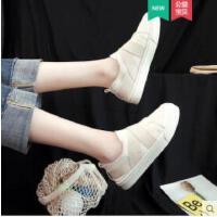 帆布鞋女新款学生韩版小白鞋平底一脚蹬女鞋休闲运动懒人鞋子