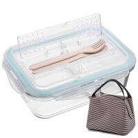 便当盒学生韩国分格玻璃保鲜盒密封碗带盖微波炉饭盒 r2m
