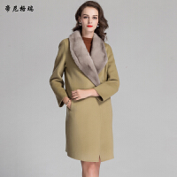 秋冬女士中长款加棉外套水貂领简约大方羊毛呢大衣M-616328-ML