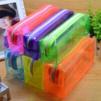 荧光糖果色透明笔袋 学生文具袋 简约化妆包 创意铅笔袋 蓝色