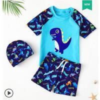 户外可爱游泳装备泳帽 儿童泳衣男童宝宝防晒速干分体泳裤套装