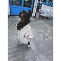儿童秋冬2017新款女宝宝针织开衫保暖上衣婴幼儿时尚休闲长款毛衣