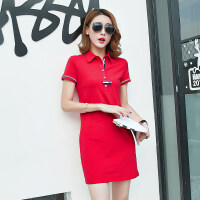 2018夏季新款连衣裙女韩版显瘦A字裙中长款T恤裙polo领裙子一步裙