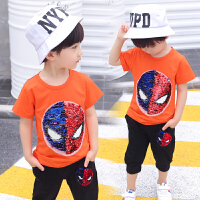 抖音会变的衣服美国队长蜘蛛侠可翻转亮片T恤夏季儿童套装潮t