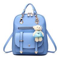 女士双肩包女包韩版时尚个性百搭包包pu皮背包旅行大容量学生书包 天蓝色
