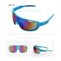 骑行眼镜偏光防风自行车眼镜框户外运动护目镜可换镜片3副装新品 NOC蓝色(可拆卸3副镜片)
