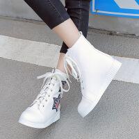 彼艾2017秋冬新款系带平底短靴女靴平跟复古英伦风马丁靴裸靴单靴女鞋