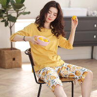 轩之婷 睡衣女夏季纯棉短袖七分裤大码黄色柠檬家居服夏装薄款两件套装
