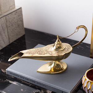 奇居良品 印度进口家居饰品书房装饰 铜制阿拉丁神灯装饰摆件