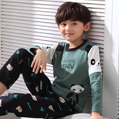 儿童睡衣男童春秋季长袖纯棉男孩夏季薄款卡通中大童家居服套装