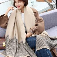 韩版百搭经典英伦毛线双面围脖两用女长款加厚披肩围巾