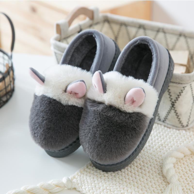 可爱家居冬季厚底棉拖鞋 月子鞋女包跟棉鞋 儿童防滑保暖拖鞋