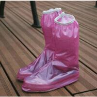 文博防雨防滑塑料鞋套时尚简约女士高筒防水鞋套 S码 粉色