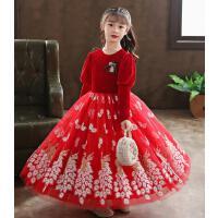 女童连衣裙子儿童装公主洋气加绒秋冬装冬季红礼服新年装过年