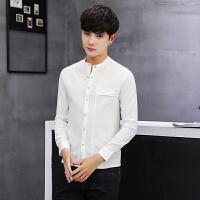 韩版修身立领衬衫青年长袖纯色衬衣男士休闲百搭寸衫白色工装寸衣