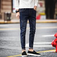 春夏男装修身弹力小脚裤男士牛仔长裤潮纯棉男生蓝色休闲牛仔裤子