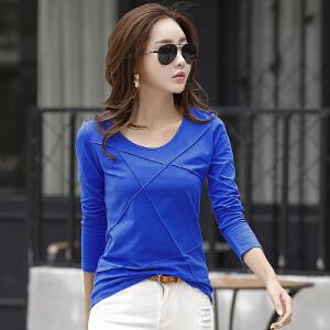 韩版棉修身显瘦百搭长袖圆领女士T恤 新款潮t休闲打底长袖