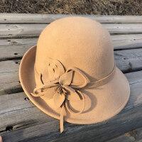 英伦复古女士帽子 时尚礼帽女 百搭卷边圆顶羊毛呢贝雷帽 新款纯色晚会帽子