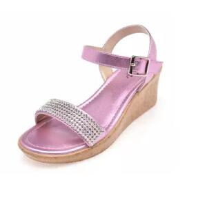 鞋柜夏季新款水钻魔术贴坡跟露趾女童鞋凉鞋