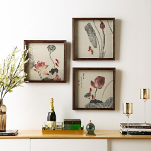 奇居良品 新中式客厅书房玄关立体有框画挂画装饰画 44cm方形多款