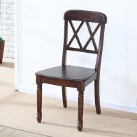 全实木餐椅休闲椅 靠背椅子美式餐厅书桌复古椅子美式餐椅