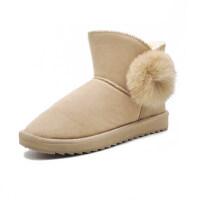皮毛一�w雪地靴女短筒�W生毛球百搭保暖加�q短筒棉鞋