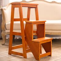 实木梯凳家用折叠楼梯椅凳子两用室内登高三步小梯子台阶凳 加高