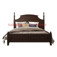 SUEF旗舰店美式床实木床双人床美式家具高箱储物床1.8米床主卧美式实木床 箱框结构 6101全实木床