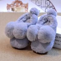 包跟棉拖鞋居家室内冬宝宝可爱男女童毛毛绒中童小孩卡通拖鞋