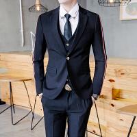 2017秋装新款发型师西装套装三件套韩版潮流男青年织带小西装男潮