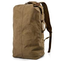 大容量休闲双肩包轻便简约运动旅行包背包男士户外复古帆布水桶包 骆军色(小款) (现货)