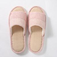 韩版时尚室内居家用厚底防滑软底家居女士凉拖鞋亚麻拖鞋女