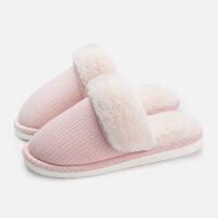 冬天拖鞋情侣保暖家居家用加厚软底毛绒防滑室内棉拖鞋女家居