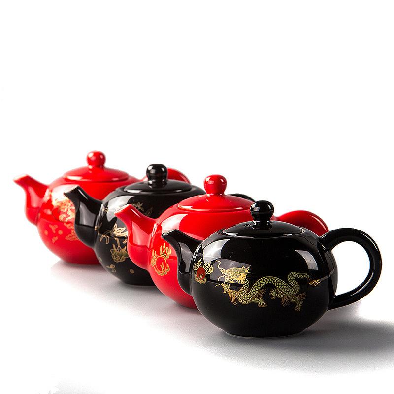 【支持礼品卡】创意陶瓷黑金龙瓷茶具套装功夫茶具礼品茶碗茶壶套装定制t8m