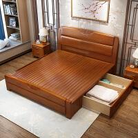 木床1.8米 1.5m橡木床双人简约中式家具高箱储物婚床5包 +2柜+乳胶床垫 1800mm*2000mm 箱框结构