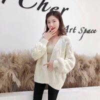 针织外套 女士V领宽松灯笼袖针织衫2020秋季新款韩版时尚女式休闲开衫女装毛衣