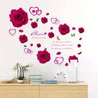浪漫红玫瑰花墙贴画卧室床头温馨背景装饰贴爱心花朵墙纸自粘贴纸