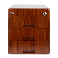 汇星木质收纳柜办公用桌面收纳箱带锁抽屉式文具储物柜