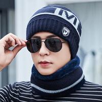 帽子男冬天时尚韩版加绒加厚针织毛线帽男士冬季户外骑行护耳套头棉帽