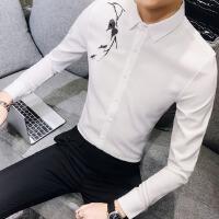2018春装刺绣花寸衣男士韩版修身长袖衬衫发型师个性时尚夜店服装